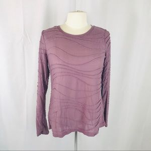 Simply Vera Wang M Pale Purple Metallic Shirt
